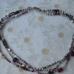 Purple and Grey Three-Strand Necklace