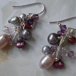Purple and Grey Cluster Earrings