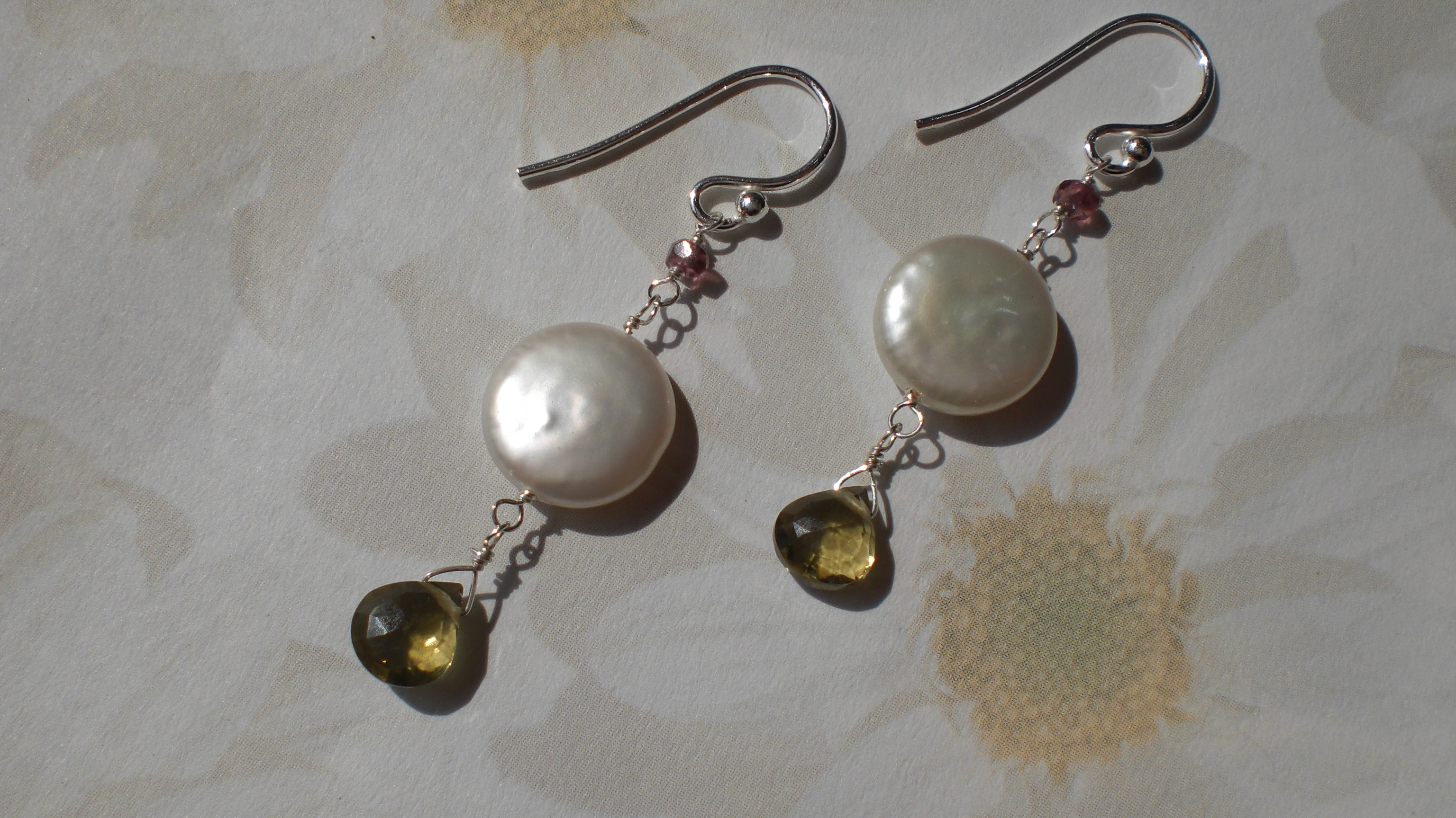 Olive Quartz, Pink Tourmaline, And Coin Pearl Earrings