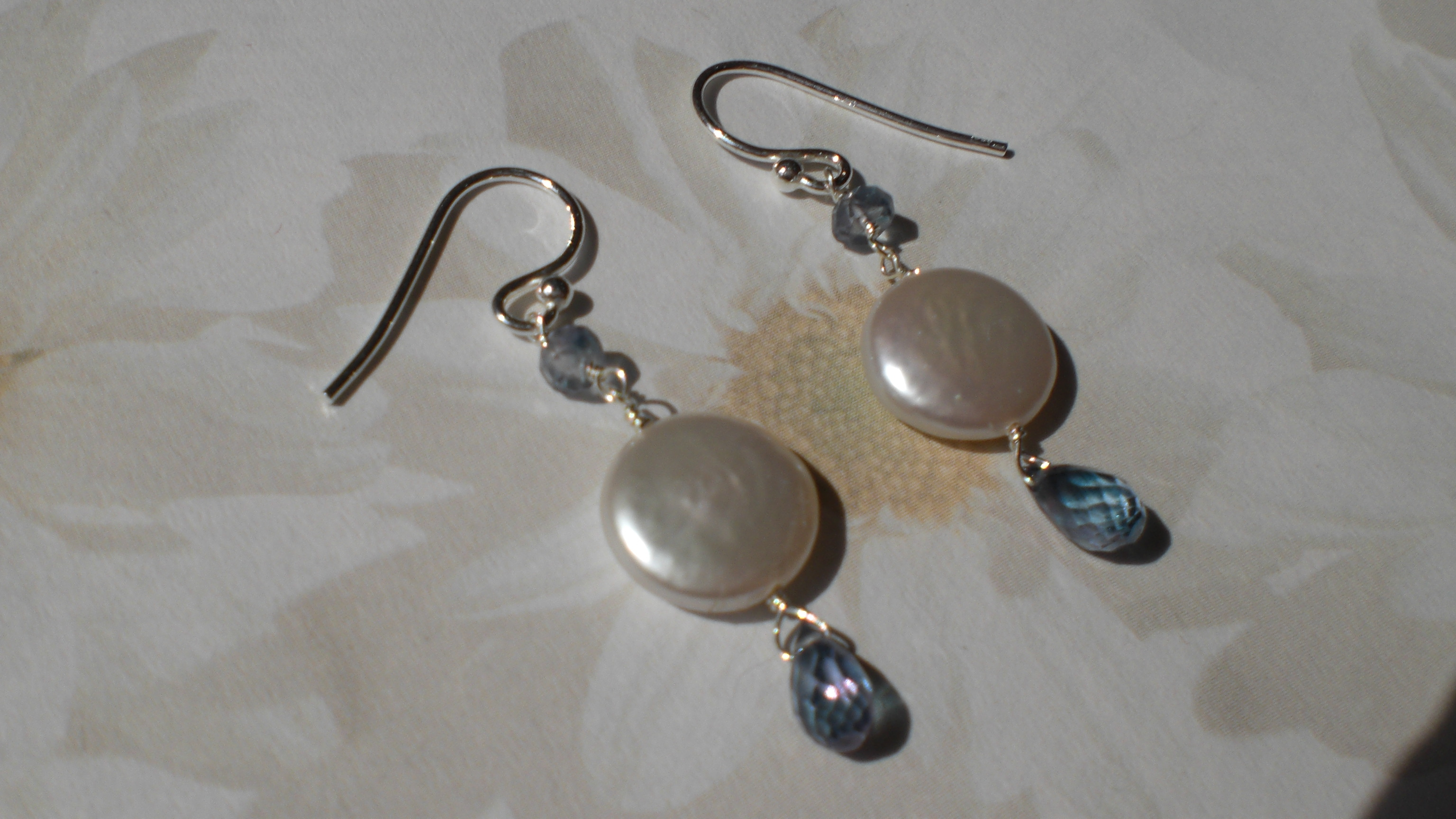 Mystic Topaz And Coin Pearl Earrings